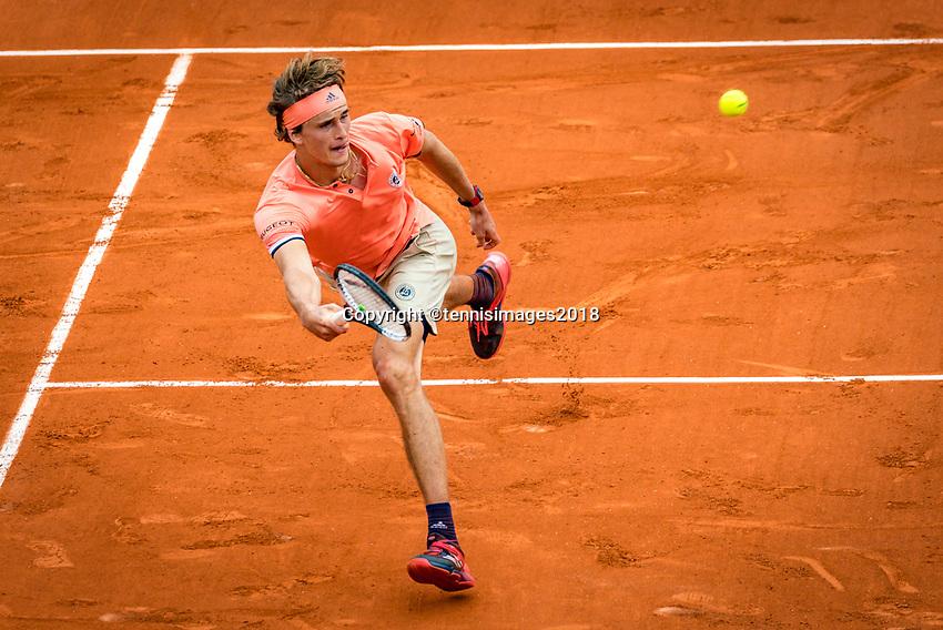 Paris, France, 01 June, 2018, Tennis, French Open, Roland Garros, Alexander Zverev (GER)<br /> Photo: Henk Koster/tennisimages.com