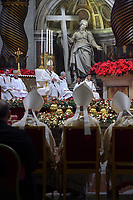 Pope Francis  during a mass on Christmas eve marking the birth of Jesus Christ on December 24, 2018 at St Peter's basilica in the Vatican.