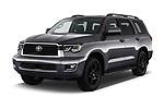 2018 Toyota Sequoia TRD Sport 5 Door SUV angular front stock photos of front three quarter view