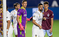 CARSON, CA - SEPTEMBER 19: David Bingham #1 GK and team mate Sebastian Lletget #17 of the Los Angeles Galaxy position themselves for a corner kick during a game between Colorado Rapids and Los Angeles Galaxy at Dignity Heath Sports Park on September 19, 2020 in Carson, California.