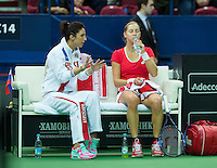 Moskou, Russia, Februari 4, 2016,  Fed Cup Russia-Netherlands, Ekaterina Makarova (RUS) on the Russian Bench<br /> Photo: Tennisimages/Henk Koster