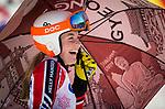 Frederique Turgeon, PyeongChang 2018 - Para Alpine Skiing // Ski para-alpin.<br /> Frederique Turgeon at the start of the giant slalom // Frederique Turgeon au départ du slalom géant. 14/03/2018.