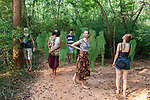 Auroville, India - April 2021: Human Unity in Covid Time. A guided walk into the forest, close to the Youth Centre.