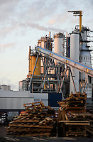 URUGUAY Fray Bentos ,  UPM pulp mill produce ECF (elemental chlorine free) pulp from FSC eucalyptus wood, Capacity, tonnes annually 1,100,000 and the mill produces electricity and steam for own consumption and in addition 20-30 MW electricity for the national grid , factory former known as BOTNIA / URUGUAY Fray Bentos , Zellulosefabrik und Biomassekraftwerk der UPM ( vorher BOTNIA ) am Ufer des Fluss Uruguay , Herstellung von Zellulose aus FSC Eukalytus Holz fuer die Papierherstellung , ein eigenes Biomassekraftwerk produziert 40 MW Strom und Dampf
