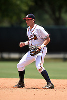 GCL Braves second baseman Luke Dykstra (5) during a game against the GCL Blue Jays on June 27, 2014 at ESPN Wide World of Sports in Orlando, Florida.  GCL Braves defeated GCL Blue Jays 10-9.  (Mike Janes/Four Seam Images)