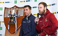 Monday 27th January 2020 | Ulster Schools' Cup Draw<br /> <br /> Royal School Armagh coach Willie Faloon speaking at the draw for the Ulster Schools' Cup Quarter Finals held at Kingspan Stadium, Ravenhill Park, Belfast, Northern Ireland. Fixtures to be played on or before 8 Feb 2020.  Photo credit - John Dickson DICKSONDIGITAL