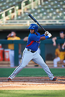 AZL Rangers Yaniery Guzman (19) at bat during an Arizona League game against the AZL Athletics Gold on July 15, 2019 at Hohokam Stadium in Mesa, Arizona. The AZL Athletics Gold defeated the AZL Rangers 9-8 in 11 innings. (Zachary Lucy/Four Seam Images)