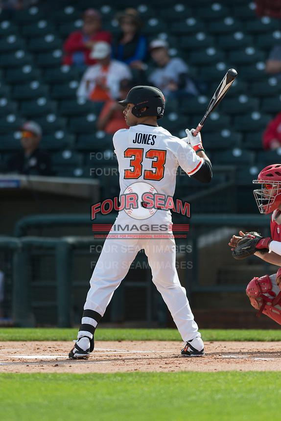 Oregon State Beavers left fielder Preston Jones (33) at bat during a game against the New Mexico Lobos on February 15, 2019 at Surprise Stadium in Surprise, Arizona. Oregon State defeated New Mexico 6-5. (Zachary Lucy/Four Seam Images)