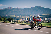 Anton Vorobyev (RUS)<br /> <br /> MEN ELITE INDIVIDUAL TIME TRIAL<br /> Hall-Wattens to Innsbruck: 52.5 km<br /> <br /> UCI 2018 Road World Championships<br /> Innsbruck - Tirol / Austria