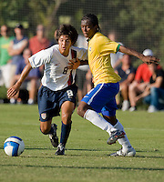 USA's Edson Lemus (8) and Brazil's Venicius (4). 2007 Nike Friendlies, which are taking place from Dec. 6-9 at IMG Academies in Bradenton, Fla.