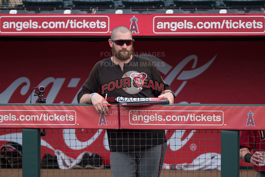 AZL Diamondbacks hitting coach Jonny Gomes (5) during the completion of a suspended Arizona League game against the AZL Angels at Tempe Diablo Stadium on July 16, 2018 in Tempe, Arizona. The game was a continuation of the July 11, 2018 contest that was suspended by rain in the middle of the eighth inning. The AZL Diamondbacks defeated the AZL Angels 12-8. (Zachary Lucy/Four Seam Images)