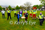 Adam and Grace Roche celebrating their 9th birthday as they receive a Birthday Salute from members of Tralee Garda and the Red Cross. Front l to r: Adam and Grace Roche and Gda Mary Gardiner. Back l to r: Sean Lyons, Gda Shane Kelly, Darragh McGovern, Gda Eilish Cronin, Majella Forde, Steve O'Connor and Nathan Comerford (Red Fred).