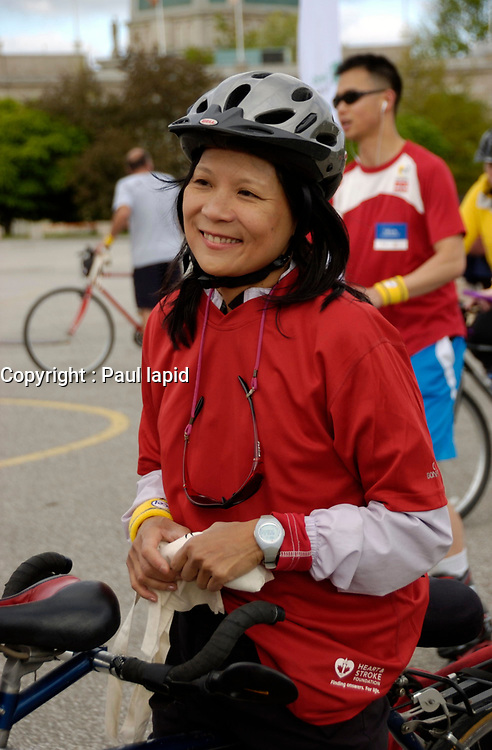 Toronto (On) CANADA - June 1, 2008 -<br /> <br /> <br /> <br /> Jack Layton and wife Olivia Chow  at TorontoÌs Canadian National Exhibition Place (CNE)<br /> after completing the Ride for Heart Event in Toronto. The couple rode on a tandem bike for 2.