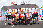 MILTON, ON, AUGUST 13, 2015. Cycling time trials, including Canadian Gold medalists Daniel Chalifour & Alexandre Cloutier (Mixed B); Silver Medalist Shelley Gautier; Silver Medallists Robbi Weldon & Audrey Lemieux, and Bronze Medallists Shawna Ryan & Joanie Caron and Charles Moreau.<br /> Photo: Dan Galbraith/Canadian Paralympic Committee