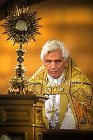 Pope Benedict XVI during a Corpus Domini procession between the basilicas San Giovanni in Laterano and Santa Maria Maggiore on  in Rome.June 7, 2012