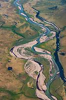 Aerial of the Nigu River, Brooks Range mountains, Arctic Alaska.