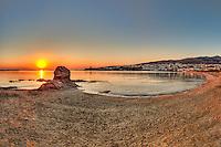 Sunrise at Neiborio beach near Chora in Andros island, Greece