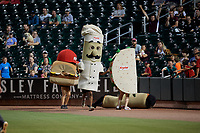 Birmingham Barons mascot race sponsored by Krystal during a Southern League game against the Chattanooga Lookouts on July 24, 2019 at Regions Field in Birmingham, Alabama.  Chattanooga defeated Birmingham 9-1.  (Mike Janes/Four Seam Images)