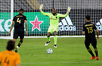 CARSON, CA - OCTOBER 28: Kenneth Vermeer #1 of the Los Angeles FC defending during a game between Houston Dynamo and Los Angeles FC at Banc of California Stadium on October 28, 2020 in Carson, California.