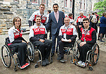 Ottawa ON - June 4 2014 - The Honourable Bal Gosal, Minister of State (Sport) meets some paralympians during the Celebration of Excellence visiting Parliament Hill. (Photo: Matthew Murnaghan/Canadian Paralympic Committee)