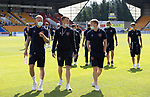 St Johnstone v Fleetwood Town…24.07.21  McDiarmid Park<br />Tom Clarke, Ged Garner and Brad Halliday pictured on the McDiarmid pitch shortly after arriving<br />Picture by Graeme Hart.<br />Copyright Perthshire Picture Agency<br />Tel: 01738 623350  Mobile: 07990 594431