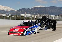 Feb. 27, 2011; Pomona, CA, USA; NHRA funny car driver Bob Tasca III during the Winternationals at Auto Club Raceway at Pomona. Mandatory Credit: Mark J. Rebilas-.