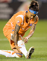Sky Blue's Natasha Kai tending to her calf. The LA Sol defeated Sky Blue FC 1-0 at Home Depot Center stadium in Carson, California on Friday May 15, 2009.   .