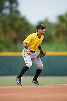 Pittsburgh Pirates shortstop Francisco Acuna (3) during an Instructional League intrasquad black and gold game on October 3, 2017 at Pirate City in Bradenton, Florida.  (Mike Janes/Four Seam Images)