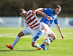 Hamilton Academical St Johnstone....04.04.15<br /> Chris Kane and Grant Gillespie<br /> Picture by Graeme Hart.<br /> Copyright Perthshire Picture Agency<br /> Tel: 01738 623350  Mobile: 07990 594431