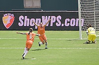 Sky Blue FC midfielder Heather O'Reilly rejoices after scoring the winning and lone goal of the match off a Natasha Kai Assist. The Sky Blue FC defeated the LA Sol 1-0 to win the WPS Final Championship match at Home Depot Center stadium in Carson, California on Saturday, August 22, 2009...