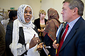 Manahil Ahmed speaks to Secretary of State John Denham during a visit to Westminster Adult Education Service, Amberley Road.