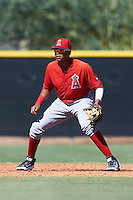 Los Angeles Angels of Anaheim Julio Garcia (3) during an Instructional League game against the San Francisco Giants on October 13, 2016 at the Tempe Diablo Stadium Complex in Tempe, Arizona.  (Mike Janes/Four Seam Images)