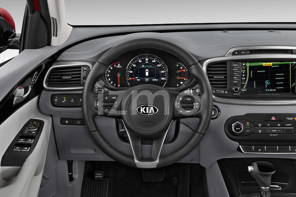 Car pictures of steering wheel view of a 2016 KIA Sorento SX AT 5 Door SUV Steering Wheel