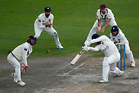 6th July 2021; Emirates Old Trafford, Manchester, Lancashire, England; County Championship Cricket, Lancashire versus Kent, Day 3; Heino Kuhn of Kent reacts at close quarters to a shot from Danny Lamb of Lancashire