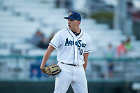 Everett AquaSox relief pitcher Grant Spranger (30) looks in for the sign during a Northwest League game against the Tri-City Dust Devils at Everett Memorial Stadium on September 3, 2018 in Everett, Washington. The Everett AquaSox defeated the Tri-City Dust Devils by a score of 8-3. (Zachary Lucy/Four Seam Images)