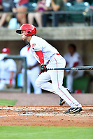 Greeneville Reds shortstop Claudio Finol (4) swings at a pitch during a game against the Bluefield Blue Jays at Pioneer Park on June 30, 2018 in Greeneville, Tennessee. The Blue Jays defeated the Red 7-3. (Tony Farlow/Four Seam Images)