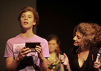 """""""Edmund"""" received a gift of Turkish Delight from the """"Wicked Queen"""" and becomes bewitched.  The Yvonne Arnaud Youth Theatre rehearsing """"The Lion, the Witch and the Wardrobe"""", Guildford, Surrey."""