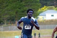 Edward Osei-Nketia wins the elite men's 100m. 2021 Capital Classic athletics at Newtown Park in Wellington, New Zealand on Saturday, 20 February 2021. Photo: Dave Lintott / lintottphoto.co.nz
