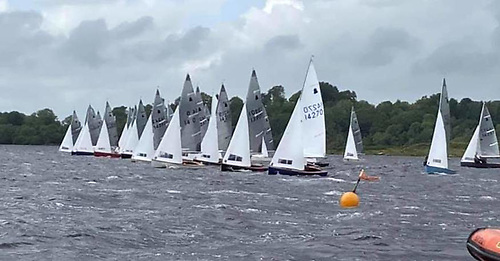Race three start of the GP14 Irish Nationals at Lough Erne Yacht Club