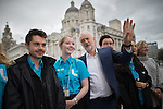 © Joel Goodman - 07973 332324 . 25/09/2016 . Liverpool , UK . Staff from the Museum of Liverpool greet JEREMY CORBYN as he leaves the Museum of Liverpool after The Marr Show , during a round of Sunday morning political interviews from the Docks in Liverpool on the first day of the Labour Party Conference . Photo credit : Joel Goodman