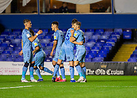 2nd October 2020; St Andrews Stadium, Coventry, West Midlands, England; English Football League Championship Football, Coventry City v AFC Bournemouth; Matt Godden of Coventry City celebrates with his team after scoring a penalty to equalise in the 39th minute 1-1