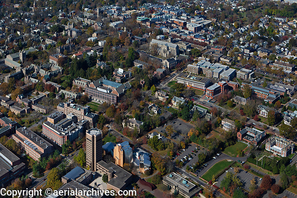 aerial photograph Princeton University, Princeton, Mercer County, New Jersey including the Lewis Science Library designed by Frank Gehry in the foreground
