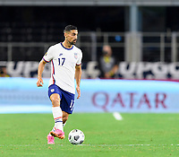 DALLAS, TX - JULY 25: Sebastian LLetget #17 of the United States looks to pass the ball during a game between Jamaica and USMNT at AT&T Stadium on July 25, 2021 in Dallas, Texas.