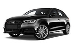 Stock pictures of low aggressive front three quarter view of a 2018 Audi S3 Sportback Base 5 Door Hatchback