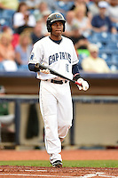 Lake County Captains second baseman Claudio Bautista (10) at bat during a game against the Fort Wayne TinCaps on August 21, 2014 at Classic Park in Eastlake, Ohio.  Lake County defeated Fort Wayne 7-8.  (Mike Janes/Four Seam Images)