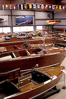 woodboat, Clayton, Thousand Islands, New York, NY, Freshwater wooden boats displayed at the Antique Boat Museum.