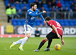 St Johnstone v St Mirren…27.10.18…   McDiarmid Park    SPFL<br />Drey Wright takes on Ryan Flynn<br />Picture by Graeme Hart. <br />Copyright Perthshire Picture Agency<br />Tel: 01738 623350  Mobile: 07990 594431