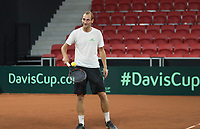 The Hague, The Netherlands, September 11, 2017,  Sportcampus , Davis Cup Netherlands - Chech Republic, training, Thiemo de Bakker (NED) <br /> Photo: Tennisimages/Henk Koster