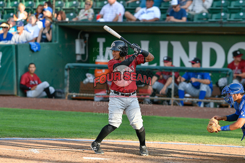 Meibrys Viloria (4) of the Idaho Falls Chukars at bat against the Ogden Raptors in Pioneer League action at Lindquist Field on September 3, 2016 in Ogden, Utah. The Chukars defeated the Raptors 3-0. (Stephen Smith/Four Seam Images)