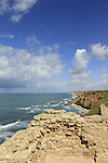 Israel, Apollonia National Park by the Mediterranean Sea, a view north from the Crusader fortress